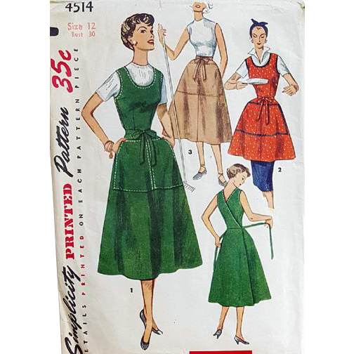 Vintage Sewing Pattern Wrap Dress Jumper Skirt or Apron Extra Small bust 30