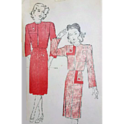 1940s Vintage Sewing Pattern Suit with Bolero Bust 34 Medium