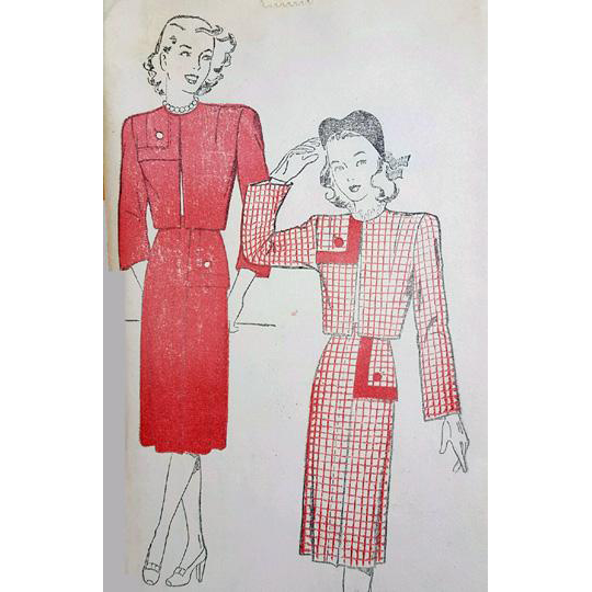 1940s Vintage Sewing Pattern Suit with Bolero Bust 34 Medium Md Uncut