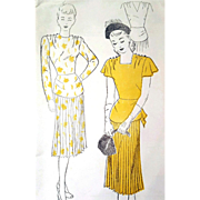 1940s Vintage Cocktail Dress Sewing Pattern Bust 34 Draped Peplum