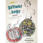 1940s Fancy Half Apron Pattern Buttons and Bows From Movie