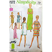 1968 Sewing Pattern Jiffy Dress One Main Piece Size Lg Simplicity 7572