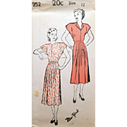 Mid Century Dress Sewing Pattern 1948 Bust 30 Extra Small