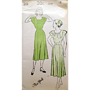 1940s Vintage Swing Dress Sewing Pattern Extra Small bust 30