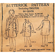 Boys Over Coat 1919 - 1923 Butterick Sewing Pattern Uncut Size 4 Child