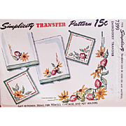 1950s Hot Iron Transfer Cross Stitch Embroidery Sewing Pattern Towels Pot Holders Aprons