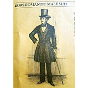 Unique Patterns of Historical Fashions Men's Suit 1830s Design