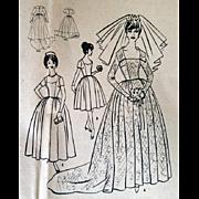 1960s McCall's Wedding Dress Sewing Pattern 6126 Uncut Size Small