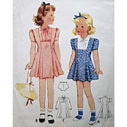 Vintage Sewing Pattern Little Girls Dress 1939 Size / Age 4