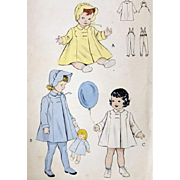Sewing Pattern Baby Bonnet Coat and Stirrup Leggings 1940s  Butterick 6240