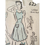 Early 1940s Vintage Full Body Apron Sewing Pattern 4 Styles Size Large