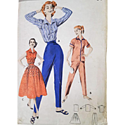 Multi Piece Sewing Pattern 1950s Skirt Blouses Toreador Pants Size Medium Bust 34