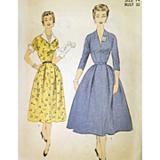 1950s Sewing Pattern Vintage Dress Casual or Cocktail Bust 32 Size Small