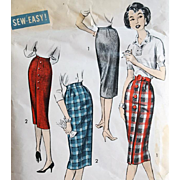 Clever 1950s Wiggle Skirt Sewing Pattern Fabric  Medium