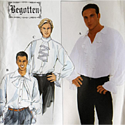 Men's Romantic Shirt Hero Pirate Vintage Sewing Pattern S,M,L