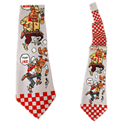 Men's Vintage Necktie 1950s Advertising Purina Pig Chow Farmer