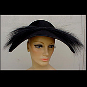 Magnificent 1940s Black Beaver & Feathered Hat New Look Dior Style