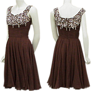 1960s Silk Beaded Rhinestone Cocktail Dress Ceil Chapman Designer