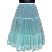 Reversible Vintage Aqua Half Slip Tiered Can Can Small to Medium Lingerie