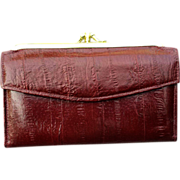 Vintage Women's Marsala Burgundy Leather Wallet Eel Skin Grain Finish - Red Tag Sale Item