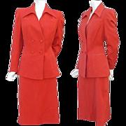 Iconic 1940s Gabardine Suit True Red Size Large - X Large Women's Fashion
