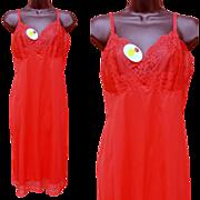1960s Red Full Slip Hollywood Vassarette NWOT Bust 36 Lacy Lingerie