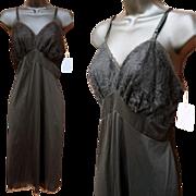 Vintage Lacy Black Full Slip Unworn with Tags Vanity Fair Bust 36 Size Large