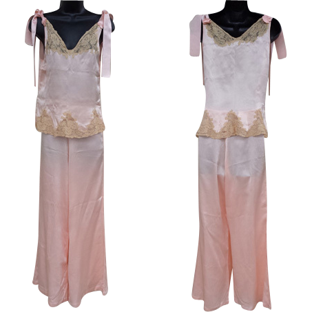 1930s Pink Silk Pajamas Lingerie Ribbon Rosettes Lace Insets Size Small Downton Abbey Era