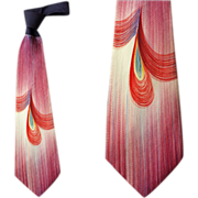 Flashy Wide Vintage 1950s Necktie Hand Painted Mid Century