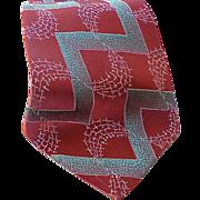 Late 1940s Vintage Necktie Iridescent Silk Damask Weave Neck Tie