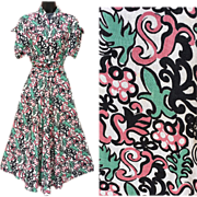 1940s Dress Rayon Blend Dress Crazy Turquoise Pink Print XL