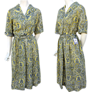 Rare 1940s Unworn Rayon Dress Dead Stock NOS Plus Size XXL Bust 44