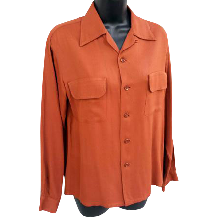 1940s - 1950s Men's Rayon Shirt Long Sleeve Size Small Unisex