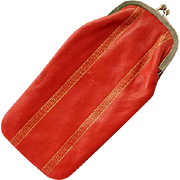 Vintage 1960s Leather Eyeglass Case Kiss Closure Metallic Accents - Red Tag Sale Item