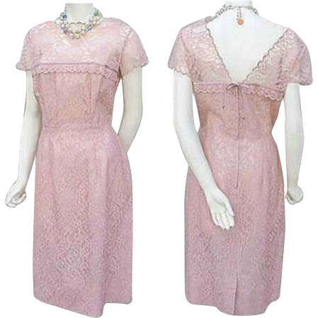 1960s Pink Lace Cocktail Wiggle Dress Size Large Bust 38