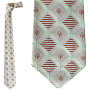 1960s Vintage Narrow Necktie Skinny Damask Neck Tie