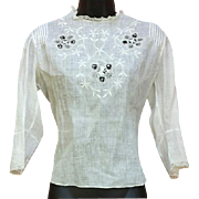 White Edwardian Cotton Blouse Embroidery Lace Size M Medium