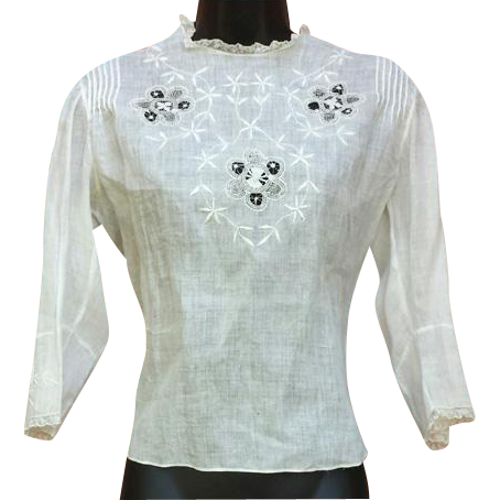 White Edwardian Cotton Blouse Embroidery Lace Size Md-Lg