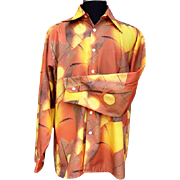1970s Men's Scenic Print Shirt Slick Disco Joe Namath Football XL