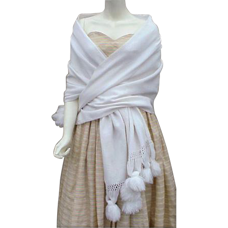 Dramatic White Evening Shawl Vintage Evening Gown Cover Up