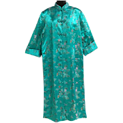 Vintage Classic Chinese Evening Coat Turquoise Jacquard XXL Plus Size Tall