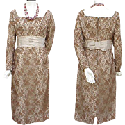 1950s - 1960s Chantilly Lace & Satin Cocktail Wiggle Dress Unworn Bust 36