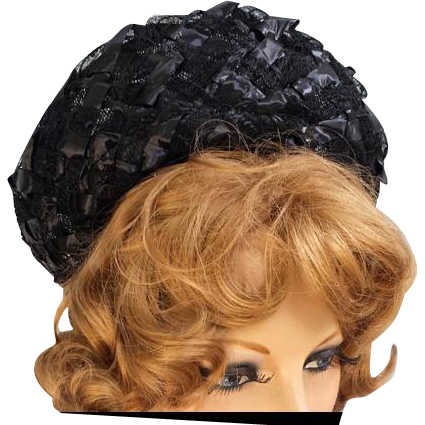 1960s Women's Hat Woven Black Straw with Ribbon One Size