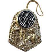 1940s Evans Compact Purse Rhinestone Set Gold Mesh Unused