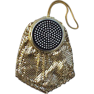 Exquisite 1940s Evans Compact Purse Rhinestone Set Gold Mesh Unused