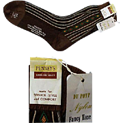 Vintage 1950s - 1960s Men's Nylon Socks Size Large NOS