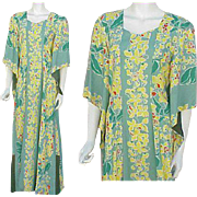 Kamehameha Hawaiian Gown Pake Spun Rayon Dress 1940s Size Large