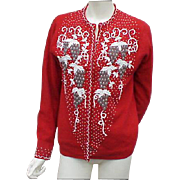 Lavishly Beaded Vintage Sweater Red with Cascades of Beading Medium to Large