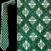 Mens Vintage Necktie Pure Silk  Classy Print 1960s