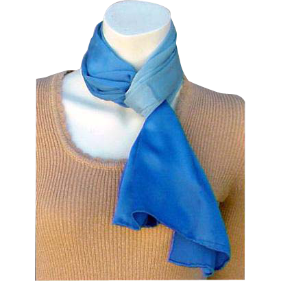 Rare 1940s -1950s Blue Silk Scarf Long Rectangle Made in Occupied Japan
